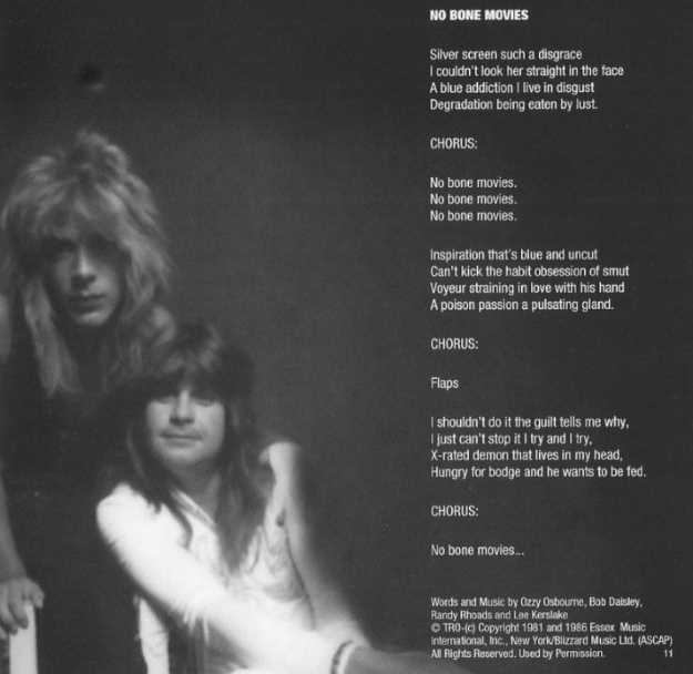 Rhoads and Ozzy pictured in a booklet. Photo credits: Fin Costello, Neal Preston, and Mark Weiss