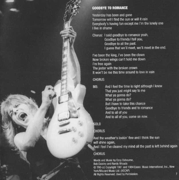 Randy Rhoads on booklet page of 'Goodbye to Romance'